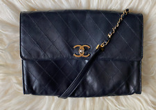 Chanel Vintage 1980's Black Leather