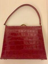 Vintage peau de crocodile sac à main années 1950 perfect cond-profonde couleur rouge