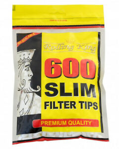 1200 (2 x 600) ROLLING KING SLIM Cigarette Filter Tips Resealable Bag Bulk Buy