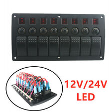IP68 8 Gang Red LED Rocker Switch Panel Circuit Breakers Charger Car Boat Marine