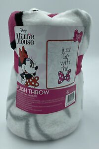 """Minnie Mouse Girls Hot Pink/White plush """"Just Go With The bow""""  Blanket 46""""x60"""""""