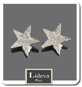 Ear Clips Earrings Paris Earrings Crystal Rhinestone Star Silver/Clear