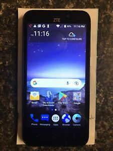 ZTE ZFive2 Black Z836BL 8GB Tracfone With Wall Charger And Cable Pre-owned Good