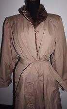 VTG 1970s 1980s London Fog Winter Coat Sz 14P Mocha Tan Faux Fur Trim