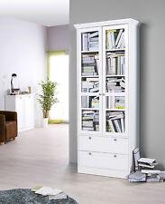 Vitrine Landwood 51, Bücherregal, Wohnzimmerschrank, Landhausstil, Weiß