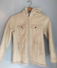 EUC Gap Kids Girl's Cream Colored Hooded Faux Suede Coat Jacket Parka XL (12)