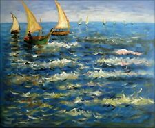 Van Gogh The Sea at Saintes-Maries Repro, Hand Painted Oil Painting, 20x24in