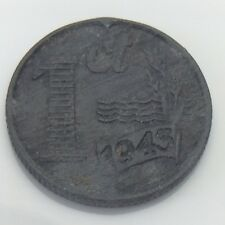 1945 Nederland Netherlands 1 One Cent Dutch Copper Circulated Coin E728