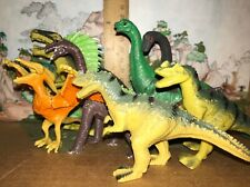 Dinosaur toy lot, unknown maker, hollow plastic set of 7