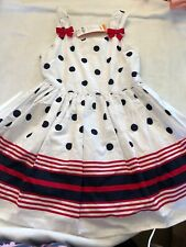 NWT Gymboree Girls Sz 6 July 4th Dress Red White Blue Striped Polka Dots Lined
