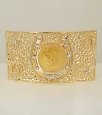 14k YELLOW GOLD LIBERTY COIN DIAMOND HORSE SHOE NUGGET BELT BUCKLE 174g
