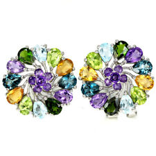 REAL AAA AMETHYST, TOPAZ, PERIDOT, CHROME DIOPSIDE STERLING 925 SILVER EARRING
