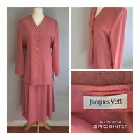 Jacques Vert Skirt Suit Coral Pink Mother Of Bride Wedding UK 12