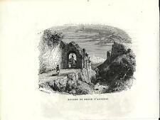 Stampa antica DONNAS arco in pietra presso la Dora Val d' Aosta 1885 Old print