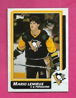 RARE 1986-87 TOPPS # 1 PENGUINS MARIO LEMIEUX  BOX BOTTOM CARD (INV# C9894)