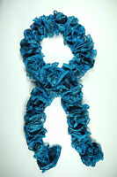Bold Blue Adorable Ruffle Hand Knit Crochet Scarf with Sequins