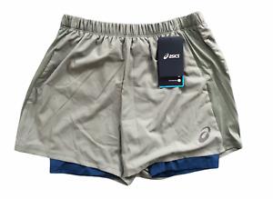 Asics Men's 2-In-1 Shorts 5 Inch Running Sports Shorts - Eucalyptus - New