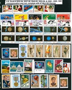 US 1991 Commemoratives & Booklet Singles Year Set with 57 Stamps MNH