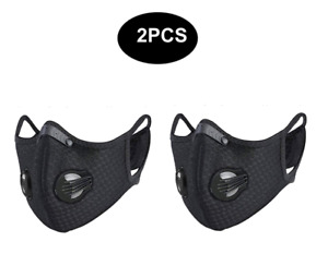2PC Sports Anti-Pollution Breathable,Cycling, Face Protection with Filter Black