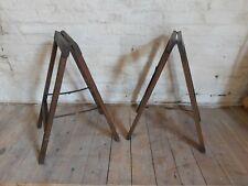 More details for pair of antique vintage solid oak and brass trestles.