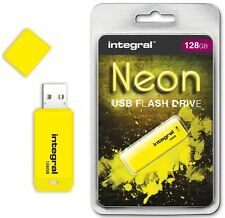 Integral 128GB Neón unidad Flash USB en amarillo a aparatos show