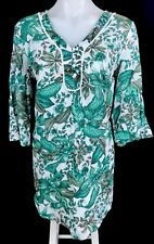 MILLERS 3/4 Sleeve White Green Tropical Floral Print Cotton Kaftan NWT Size 10