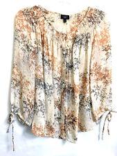 TALBOTS 100% Silk Button Down Blouse Shirt Top PM Semi Sheer Beige Gray 3/4 Slvs