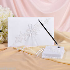 White Satin Applique Guest Book and Pens -GB21b