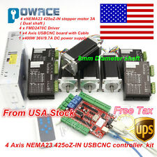 【USA Stock】 4Axis Nema23 Stepper Motor 425oz-in Dual Shaft+4A Driver USB CNC Kit