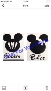1 X mickey and minnie bride and groom Set wine glass/mug vinyl decals