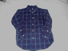 Ralph Lauren Navy Plaid Long Sleeve Cotton Shirt - size 4