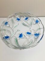 Mikasa Bluebells Blue and Green Round Serving Dish Platter Excellent Condition