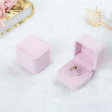 Velvet Engagement Wedding Earring Ring Pendant Jewelry Display Chic Box Pink