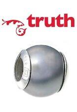 Genuine TRUTH sterling silver PK 925 silver grey faux pearl bracelet charm bead