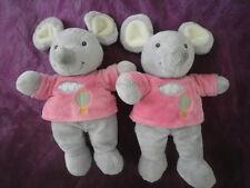 lot de 2 Doudou souris gris rose montgolfiere GIPSY
