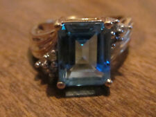 Blue Topaz W/ Diamonds Ring 14k Size 7