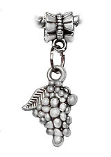 Grapes Fruit Food Wine Winery Kitchen Dangle Charm for European Bead Bracelets