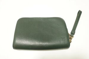 Authentic Louis Vuitton Taiga Baikal Clutch Bag Episea Green Leather #8870