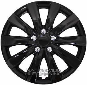 "16"" Set of 4 Black Wheel Covers Snap On Full Hub Caps fits R16 Tire & Steel Rim"