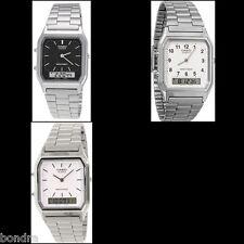 Casio AQ230A Men's Watch Stainless Steel Band Digital Analog Alarm Stopwatch New