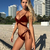 Women Bikini Sets Swimwear Swimsuit Backless Low Waist Bandage Halterneck Padded