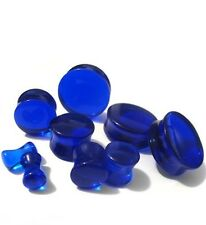 "PAIR-Stone Quartz Blue Sapphire Double Flare Ear Plugs 16mm/5/8"" Gauge Body Jew"