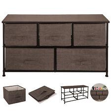 Dresser Storage Tower w/ 5 Fabric Drawer Steel Frame Storage Cabinet Cube Chest