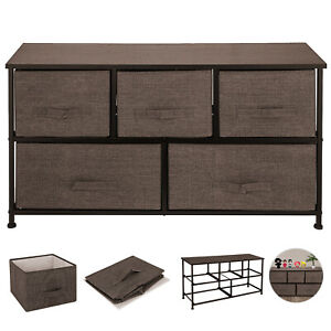 Dresser Storage Tower w/ 5 Fabric Drawer Steel Frame Storage Cabinet Cube Chest