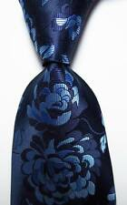New Classic Floral Dark Blue Sky Blue JACQUARD WOVEN 100% Silk Men's Tie Necktie