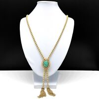 Vintage Avon Gold Tone Beaded Lariat Y Chain Necklace Green Cabochon & Tassels