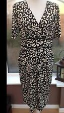 Marks and Spencer Fixed Wrap Animal Print Dress  Black/Cream Worn Once