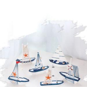 Sailboat Model Wooden Sailing Boat Home Decoration Beach Nautical Design N_yk