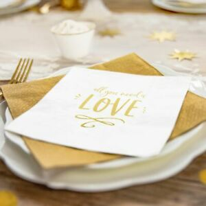 Gold Wedding 'All  You Need is Love' Napkins   Engagement Table Decorations x20
