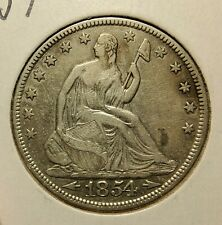 1854 SEATED LIBERTY HALF DOLLAR WITH ARROWS SILVER COIN VERY FINE (VF) CONDITION
